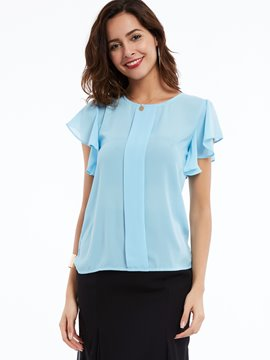 Ericdress Round Neck Solid Color Frill Blouse