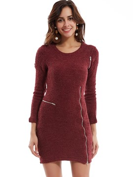 Plain Side Zipper Sweater Dress