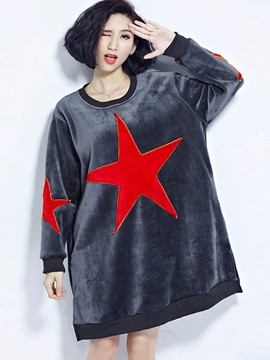 Ericdress Loose Color Block Round Neck Hoodie