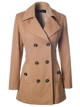 Ericdress Double-Breasted Solid Color Belt Slim Coat