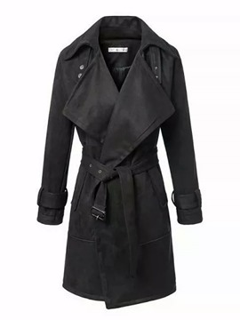 Ericdress Slim Turn-Down Solid Color Trench Coat