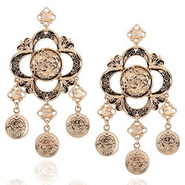Ericdress Flower Carved Alloy Plated Retro Earrings