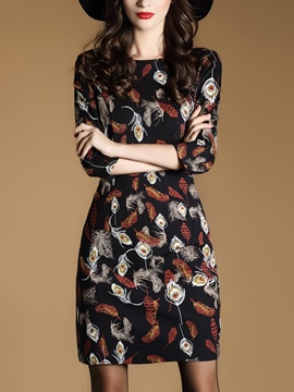 Ericdress Feather Print Round Collar Above Knee Sheath Dress