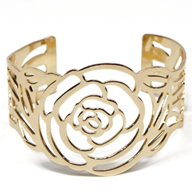 Ericdress Gold Plated Flower Design Cuff Bracelet