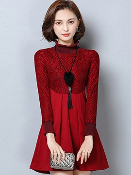 Ericdress Turtleneck Jacquard Patchwork Pleated Casual Dress