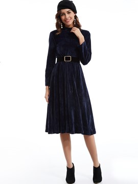 Stand Collar Expansion Day Dress