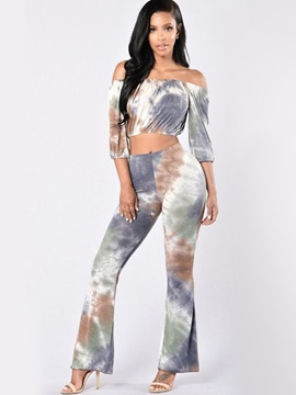 Ericdress Tie-Dye Slash Neck Wide Legs Suit