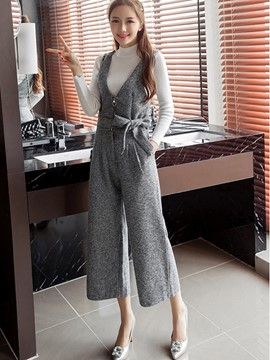 Ericdress High Neck Sweater Suspenders Bowknot Wide Legs Suit