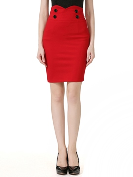 Ericdress Plain Color Button High-Waist Mini Skirt