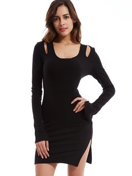 Plain Round Neck Hollow Sheath Dress