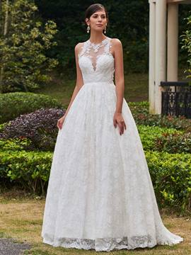 Ericdress Jewel Appliques A Line Lace Wedding Dress