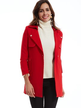 Plain Notched Lapel One Button Trench Coat