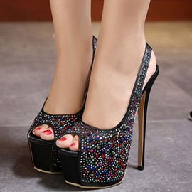 Ericdress Glittering Rhinestone Platform Backless Stiletto Sandals