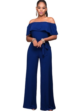 Ericdress Strapless Backless Lace-Up Wide Legs Jumpsuits Pants