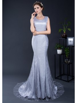 Ericdress Mermaid Scoop Neck Sweep Train Lace Evening Dress