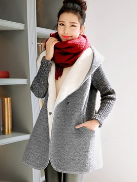 Ericdress Color Block Patchwork Fleece Hooded Coat