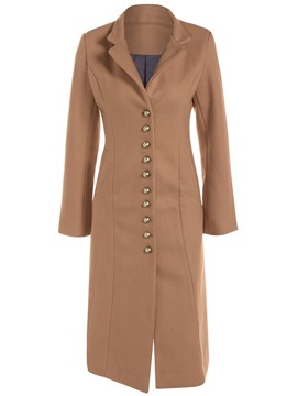 Ericdress Slim Single-Breasted Solid Color Coat