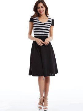 Round Neck Stripe Patchwork Day Dress