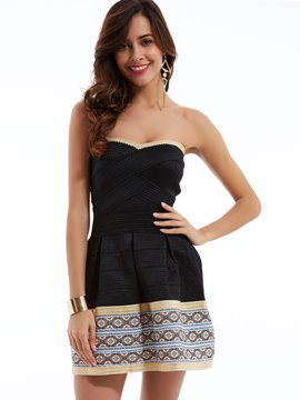 Strapless Geometric Pattern A-Line Day Dress