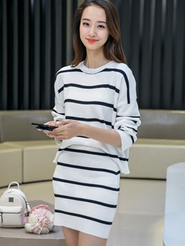 Ericdress Stripe Patchwork Long Sleeve Sweater Skirt Suit