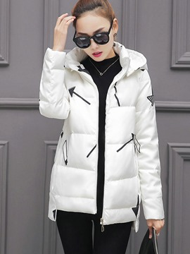 Ericdress Color Block Straight Hooded Cotton Coat