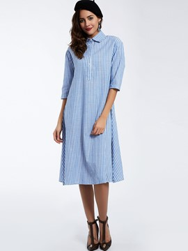 Ericdress Lapel Single-Breasted Striped Maxi Dress