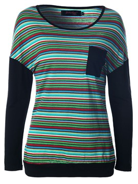 Ericdress Colorful Stripe Long Sleeve T-Shirt