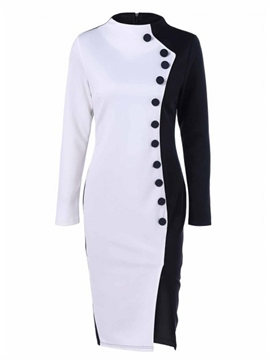 Ericdress Button Color Block Stand Collar Bodycon Dress
