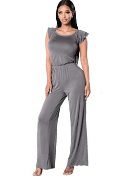 Ericdress High-Waist Slim Wide Legs Jumpsuits Pants