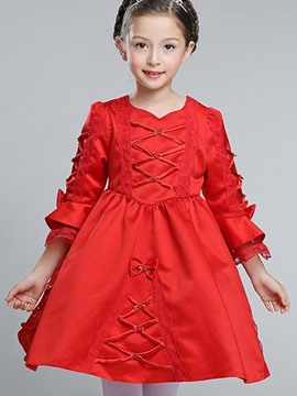 Ericdress Lace-Up Bow Flare Sleeve Girls Princess Dress