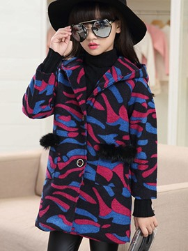 Ericdress Camouflage Single-Breasted Hooded Girls Wool Coat