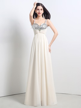 Ericdress A Line Straps Sequin Chiffon Floor Length Prom Dress