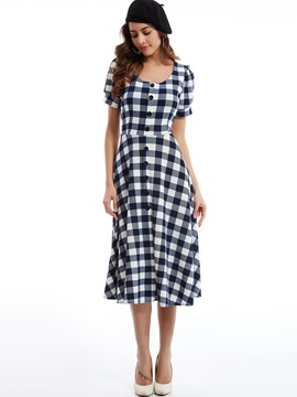 Round Neck Single-Breasted Plaid Day Dress