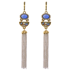 Ericdress Blue Artificial Stone Inlaid Tassels Earrings