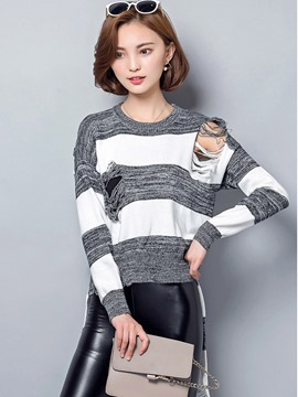 Ericdress Color Block Hollow Pullover Kniwear