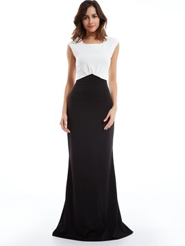 Color Block Square Neck Expansion Maxi Dress