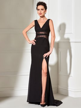 Ericdress Classic Black Sheath V Neck Side Slit Chiffon Long Evening Dress