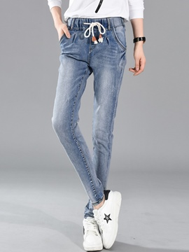 Ericdress Worn Washable Lace-Up Slim Jeans