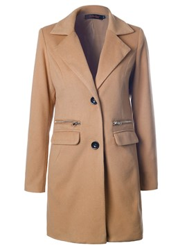 Ericdress Solid Color Single-Breasted Polo Straight Coat