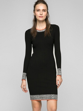 Ericdress Round Neck Patchwork Sweater Dress