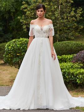 Ericdress Amazing Off The Shoulder Short Sleeves A Line Wedding Dress