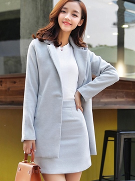 Ericdress Notched Lapel One Button Long Sleeve Bodycon Suit