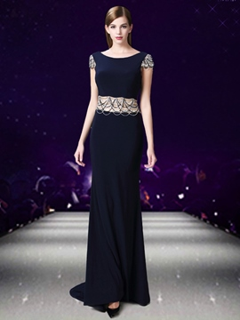 Ericdress Fancy Cap Sleeve Beaded Backless Evening Dress