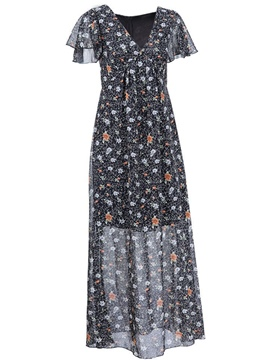 Ericdress Floral Print V-Neck Pleated Falbala Short Sleeve Maxi Dress