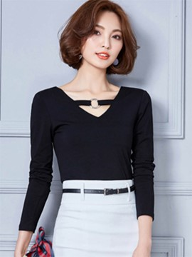 Ericdress V-Neck Slim T-Shirt