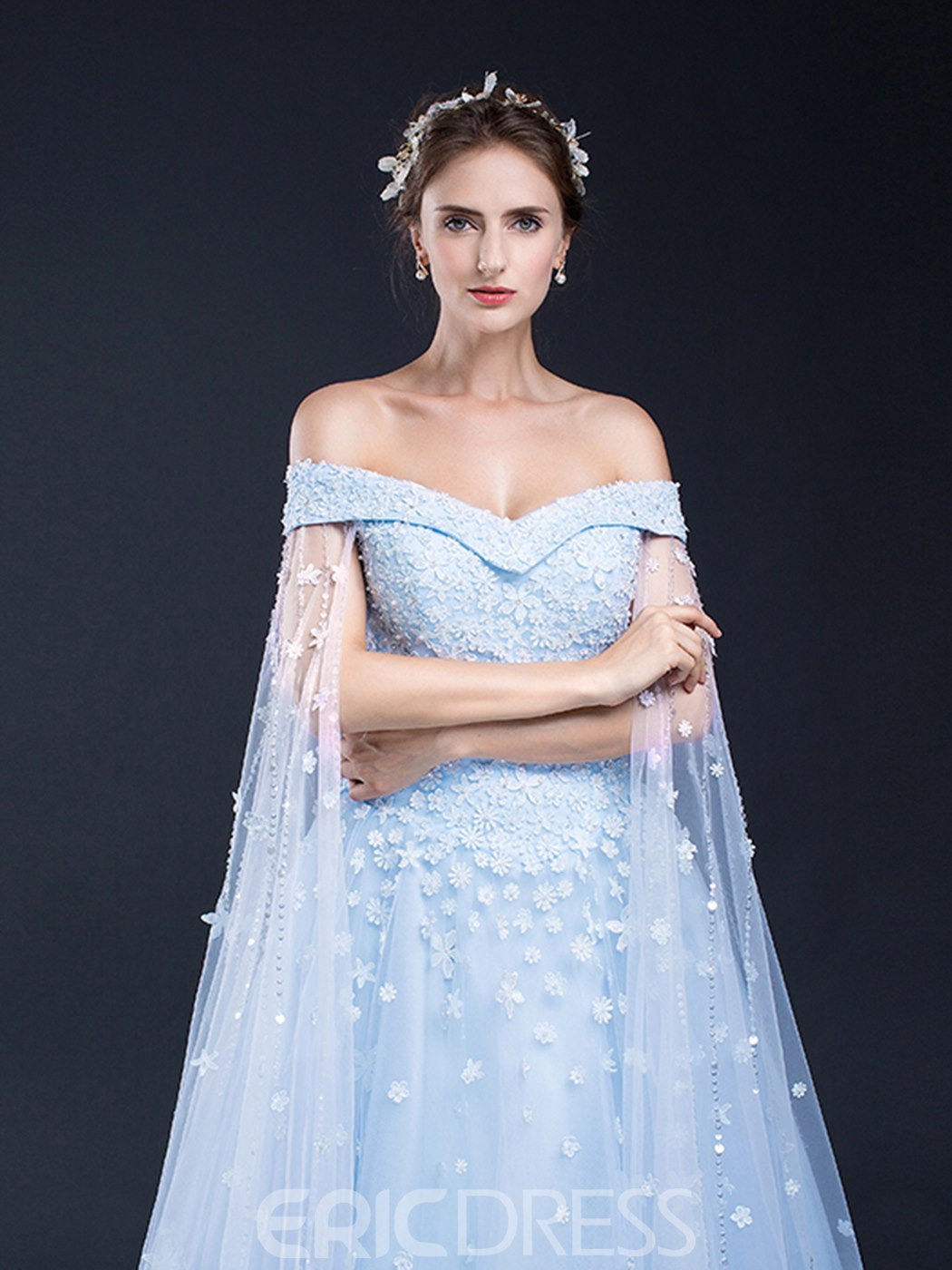 Ericdress Off The Shoulder Cap Sleeve Applique Evening Dress With Lace-Up Back