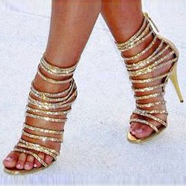 Ericdress Solid Color Sequined Zipper Stiletto Sandals