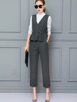 Ericdress Stand Collar Suspenders Lace-Up Leisure Suit