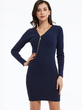 Plain V-Neck Zipper Bodycon Dress