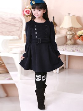 Ericdress Plain with Cape Girls Wool Dress